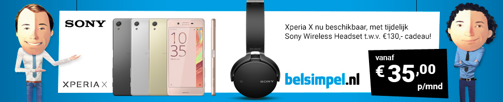 De Sony Xperia X nu met Wireless Bluetooth Headset twv € 130 cadeau